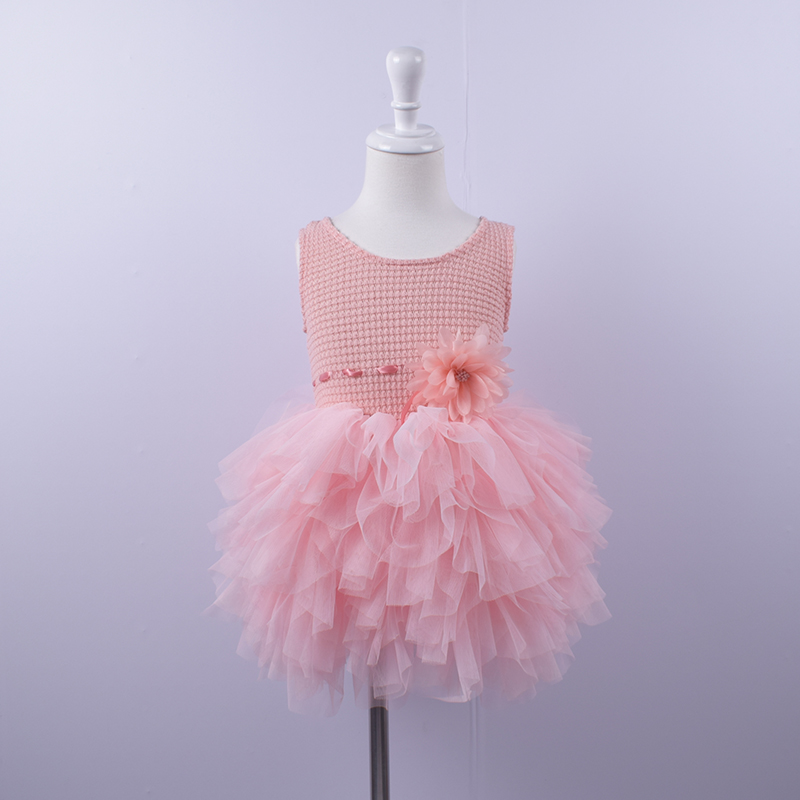 Baby Girls Princess Dress Fashion Solid toddler printed Birthday party Dress Infant kids tutu summer dress for 12M-24M