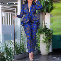 2 Piece Outfits for Women Abstract Print Ruffles Hem Top & Pencil Pant Sets Chic Elegant Spring Fall Office Lady Suit