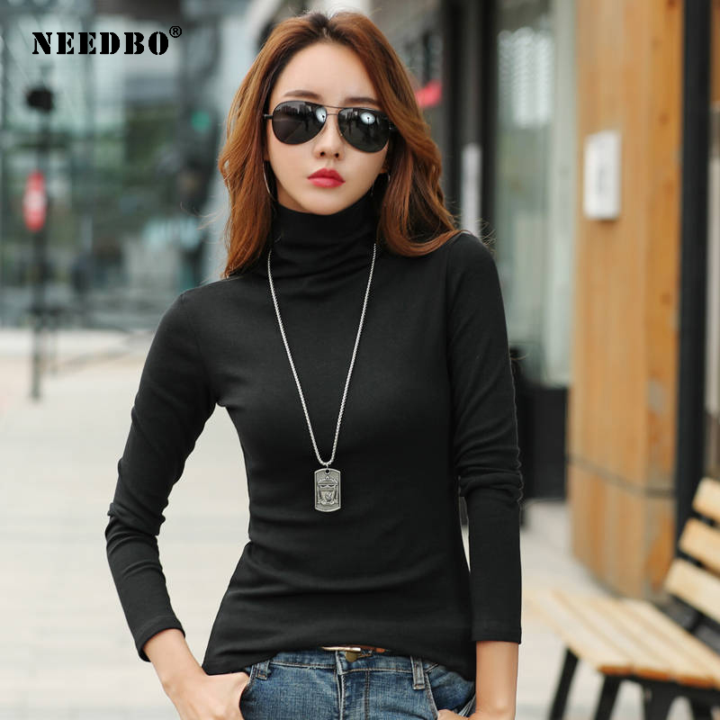 NEEDBO Turtleneck T shirt Women Long Sleeve Sexy Casual Flexible t-shirt Women Full Sleeve Autumn Winter Tee Shirt Femme Tops