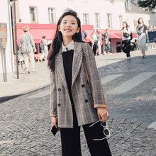 Plaid Stylish Ladies Blazer Gray Loose Casual Vintage Suit Jacket Veste Femme Longue Korean Women Blazer Spring Autumn MM60NXZ