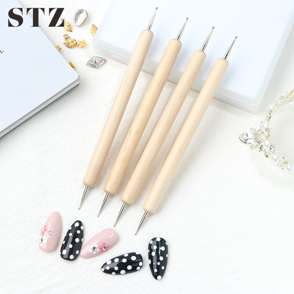 STZ 1pcs Dual Heads Wooden Dotting Pen Painting Dots Brush For Manicure Rhinestone Picker Polish Easy Nails Art Pen Tools NAO10