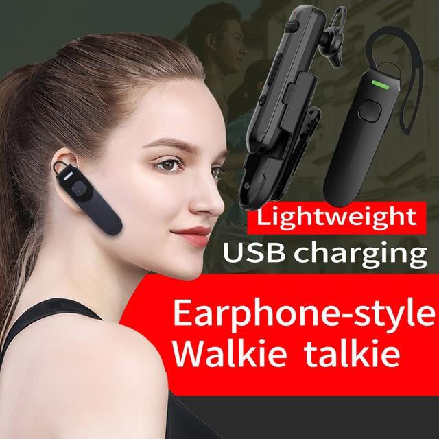 2Pcs Earhook-Style Walkie Talkie Professional Mini Portable Two-Way Radio Speaker Intercom Communication Equipment Wireless Ham