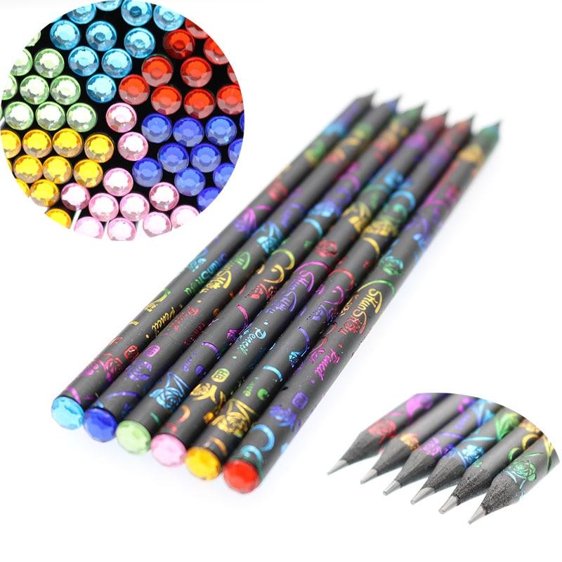 6 Pieces / Set, HB Color Printing Diamond HB Pencil Black Imitation Wood Student Pencil School Drawing Writing Children'S Prize