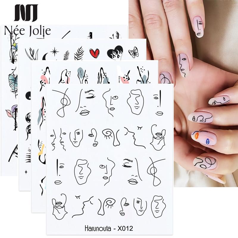 Абстрактные женские наклейки для ногтей Harunouta, водные черные листья, слайдеры, бумажные декоративные наклейки для дизайна ногтей, маникюр, ф...