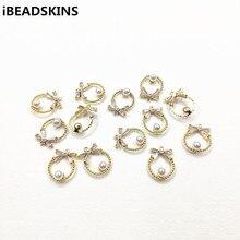 Nova chegada! 16x12mm 30 pçs chapeamento real ouro verdadeiro zircão redondo charme/conectores para colar, brincos peças, feito à mão jóias diy
