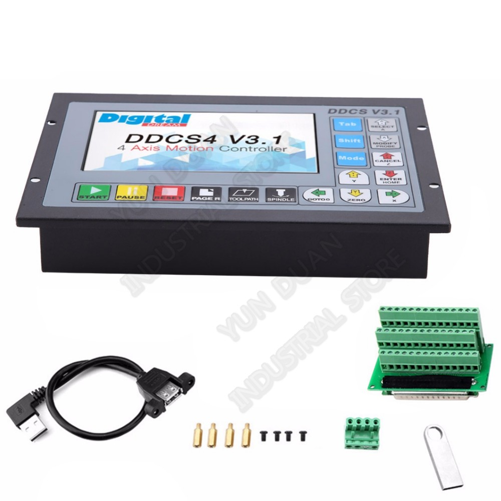 4 Axis 5inch Offline CNC Motion Controller G code 500KHz USB Driver Metal Cases for stepper servo motor CNC Router mach3 fanuc