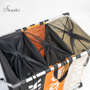 Image 5 - Shushi Waterproof home laundry Basket oxford collapsible laundry basket metal dirty cloth storage Portable laundry organization