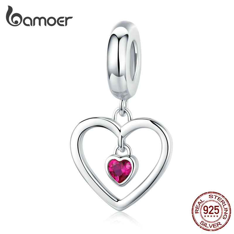 Bamoer Silver 925 Heart Pendant Charm Fit Original Silver Bracelet Or Necklace Heart-shape Cubic Zirconia Jewelry SCC1349