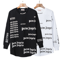 19SS Palm Angels T Shirt full logo letters Long Sleeves Palm Angels T shirt Streetwear Hip Hop Palm Angels T shirts Men Women