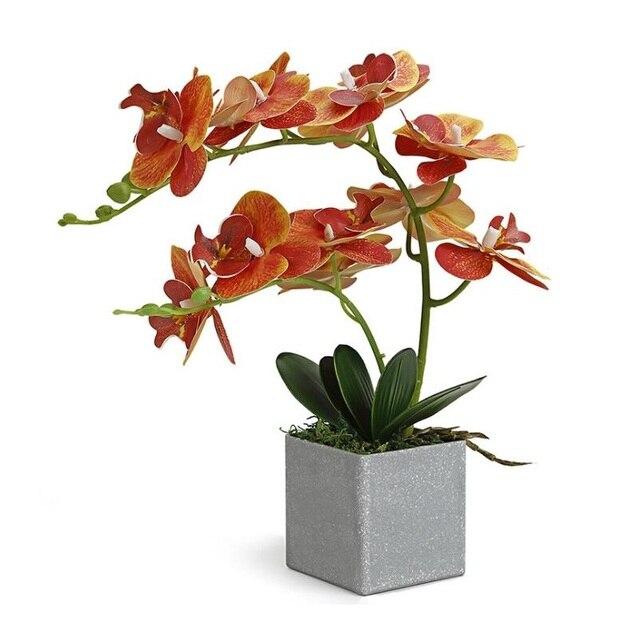 INDIGO  (1set) Orchidee Arrangment Echt Mit Vase Touch Bonsai Hochzeit Party Blume Dekoration Mittelpunkt Floristen Dropshipping