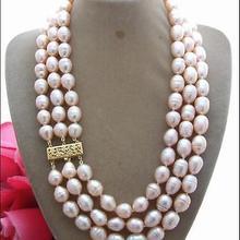 """3 ряда 9-10 мм натуральное Австралийское Южно-морское золотое ожерелье из розового жемчуга 1""""-19"""" 14K"""