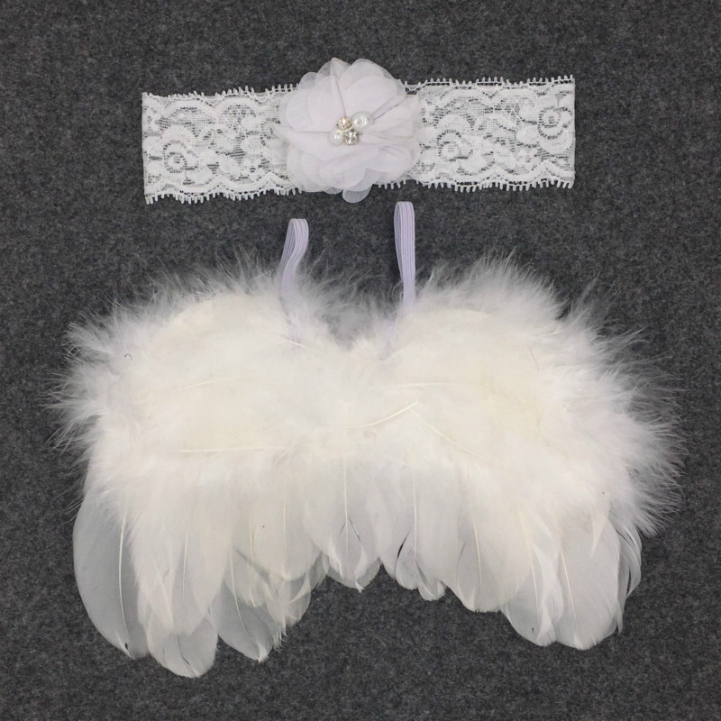 Children Photo Shoot Set Feather Wings Angel Wing Europe And America Children Photo Shoot Set Chiffon Flower Hair Band