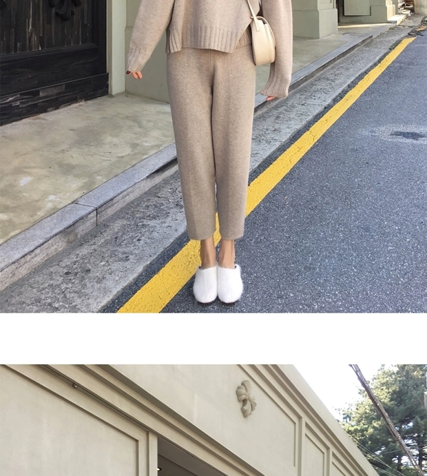 H34861137f0bf47df818a0505888a0d04D - Autumn / Winter Turtleneck Sweater and Straight Solid Pants