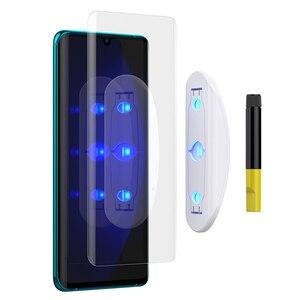 Image 2 - Screen Protector Gehärtetem Glas Für XiaoMi Hinweis 10 mit fingerprint entsperren UV Glas film volle abdeckung für MI Hinweis 10