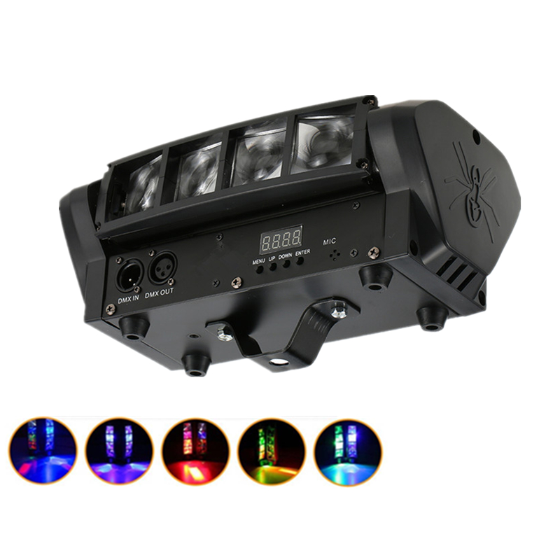 Niugul 8x10W Mini LED Spider Light/Sound DMX512 Control RGBW Beam Effect Stage Moving Head Light Good For Disco Party LED Lamp