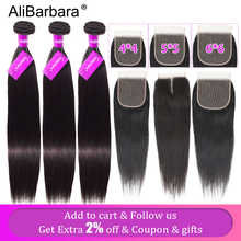 Alibarbara Brazilian Straight Hair With Closure 5x5 6x6 Closure with Bundles Remy Human Hair Bundles With Closure 4x4 Nature - DISCOUNT ITEM  53% OFF All Category
