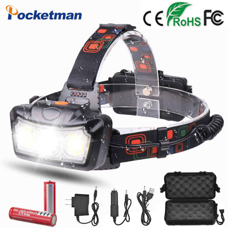 Powerful Headlight Headlamp Led Rechargeable T6 COB Head Torch Led Flashlight Head Lamp Waterproof Power By 2*18650 Battery