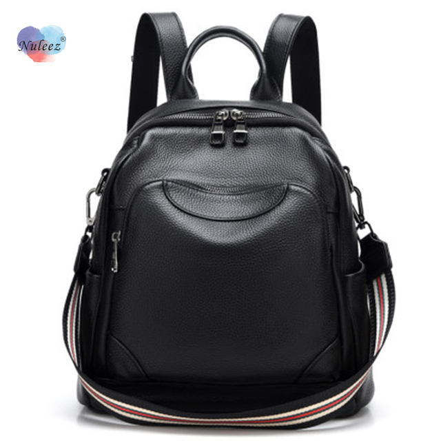 Nuleez high quality real leather backpack wholesale with long shoulder strap big capacity purse travelling bag
