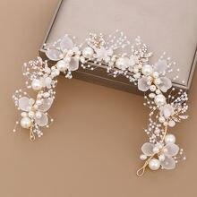Fd001 Новый Дизайн Жемчужный цветочный свадебный ободок ручной
