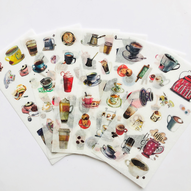 6 Sheets All Kinds of Coffee Stickers DIY Stick Label PVC Phone Hand Account Decor Sticker