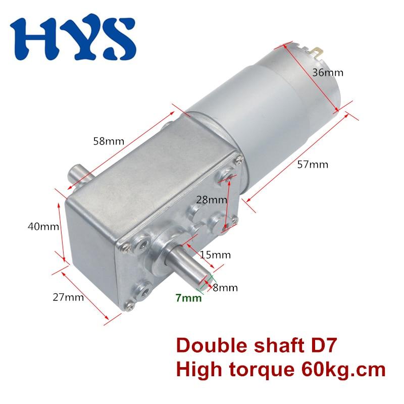 HYS Gear Motor DC 12 Volt 24V Double Shaft 15mm Electric Worn Reducer 12V  Micro Mini Motors V self lock toys