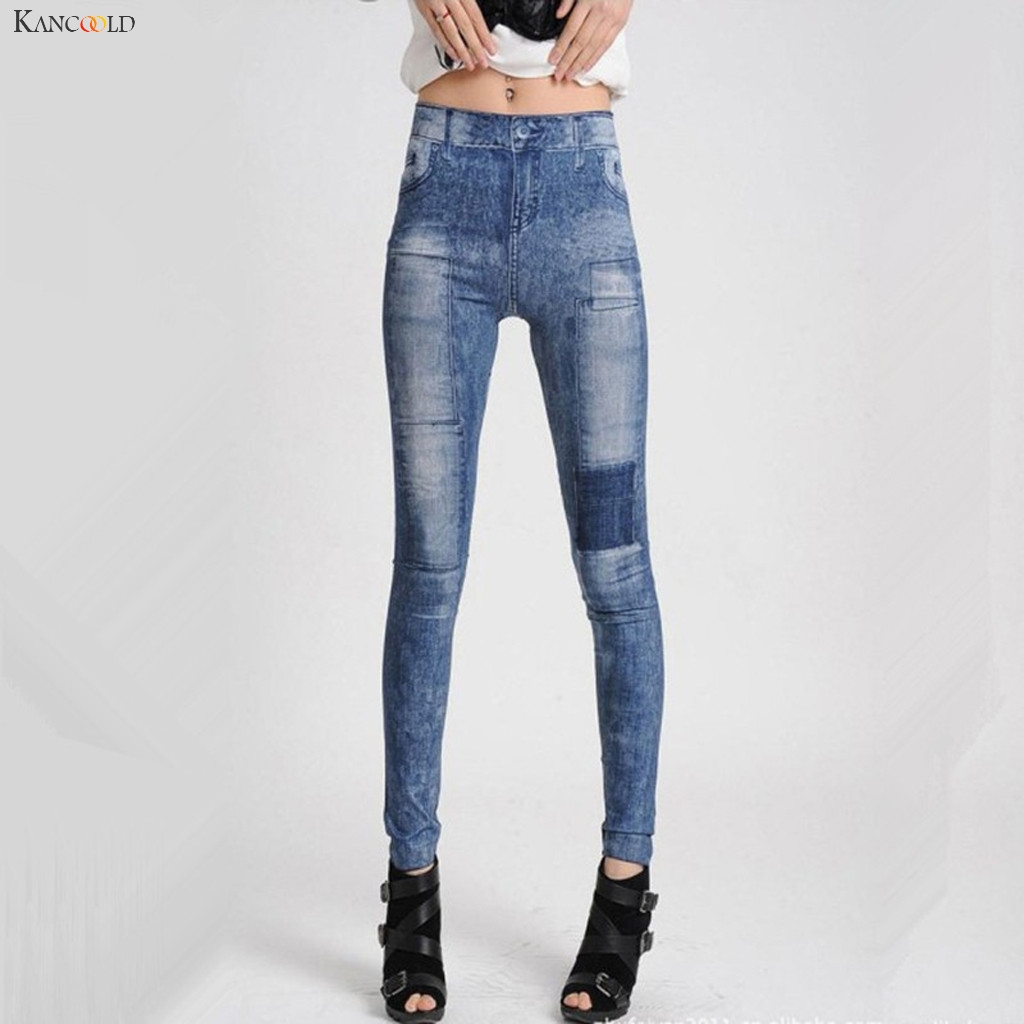 KANCOOLD Pants Fashion Women Casual Pant High Waist Stretch Clothes Patch Print Slim Leggings Panelled New Pants Women 2019Oct25