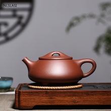 Duża pojemność 400ml Yixing fioletowy gliniany dzbanek do herbaty klasyczny kamień scoop czajniczek filtr czajnik surowa ruda Handmade zestaw herbaty Drinkware tanie tanio NLSLASI CN (pochodzenie) 301-400 ml Z fioletowej gliny