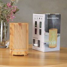 Máquina de aromaterapia palo humidificador Retro hueco Led luz nocturna Vertical madera grano difusor máquina relajante ambiente