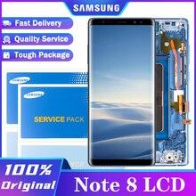 Pantalla LCD Original Super Amoled de 6,3 pulgadas con marco para SAMSUNG Galaxy Note 8, montaje de digitalizador de pantalla táctil, piezas de repuesto