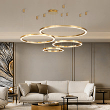 Postmodern Luxury pendant lights Brief 2019 New Nordic Style Art hanglamp Creative ring Living Room lustre pendant lamp lighting(China)