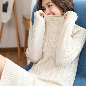 Image 5 - Adohon 2019 donna inverno 100% maglioni di Cashmere e abiti in maglia autunnali pullover o collo caldo al ginocchio di alta qualità