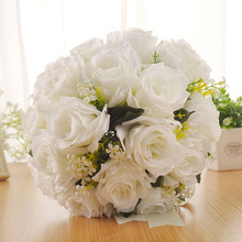 Wedding Bridal Holding Artificial Flowers Bouquet Rose Bridesmaid Fake High Quality Party Supplies