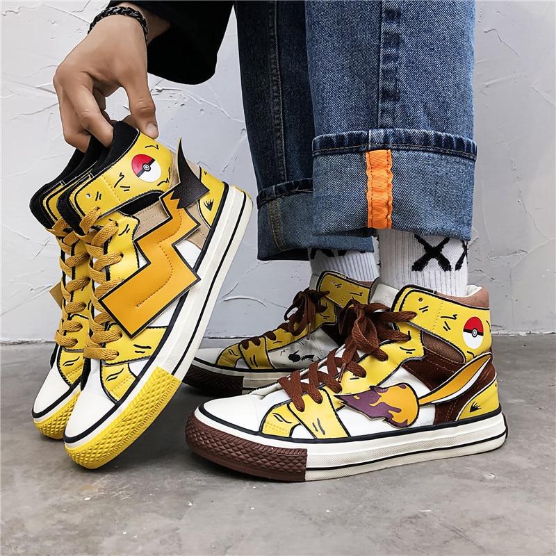 Fashion Anime Pokemon Kawaii Pikachu Cosplay Props Poke Ball Canvas Shoe Teens School Sports Shoes Sneakers Street Travel Shoes