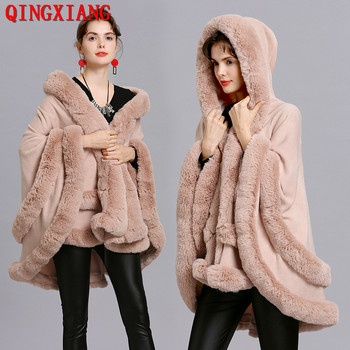 2019 Women Two Layer Fur Poncho With Hat Faux Fox Fur Cape Big Pendulum Dovetail Cardigan Winter Shawl Warm Thick Coat sc353 winter warm cloak thick batwing sleeves fur hat coat 2019 poncho women loose faux fox fur out wear cardigan with pocket