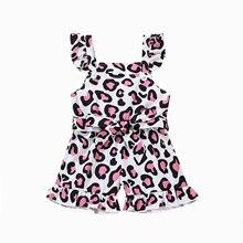 Jumpsuit Clothing Short-Pants Ruffle Baby-Girls Summer Children Leopard Decoration Bow-Belt