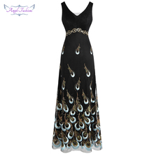 Angel fashions Womens A line V Neck Peacock Embroidery Evening Dresses Long Party Gown 469