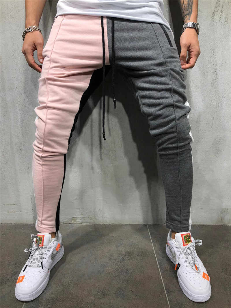 Gyms running Mens Slim Fit Sweatpants Drawstring Striped Track Pants Color Block Patchwork Jogging Pant Sports Hip Hop Trousers