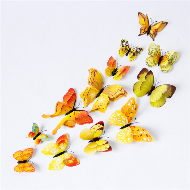 Yellow Orange Pink Butterfly 3D 12Pcs/Set 4