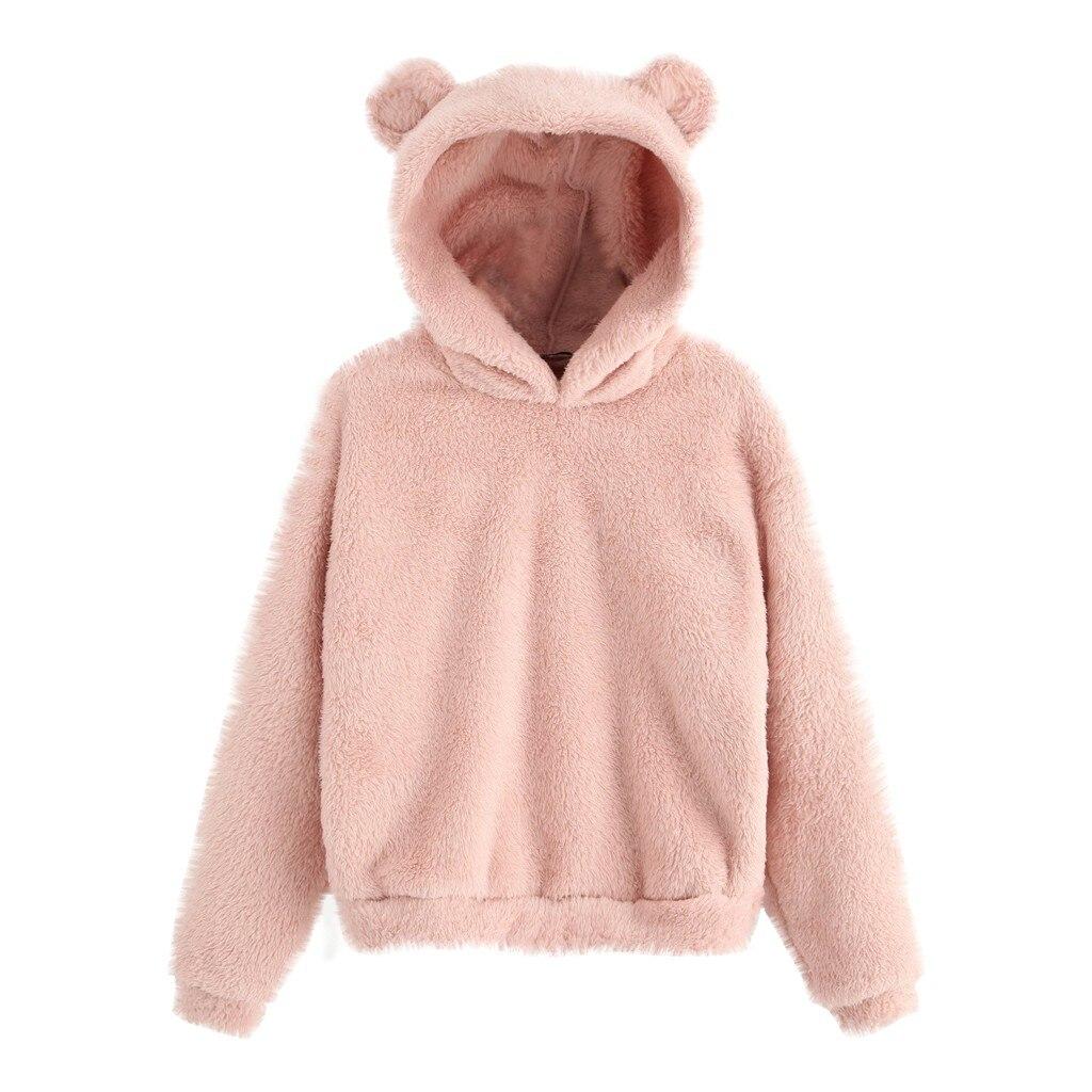 Women's Long Sleeve Fleece Sweatshirt Warm Bear Ear Shape Fuzzy Hoodie Pullover Solid Thicken Winter Warm Hooded Sweatshirts