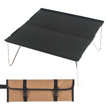 Wielofunkcyjne kwadratowe składane stoły 35*25*11cm z torba do noszenia czarne stoły na zewnątrz na kemping piesze wycieczki piknik wędkarstwo grill tanie i dobre opinie Metal STAINLESS STEEL Japanese Montaż Rectangle 350*250*110mm Na zewnątrz tabeli Meble ogrodowe HY2442 Nowoczesne black gray coffee