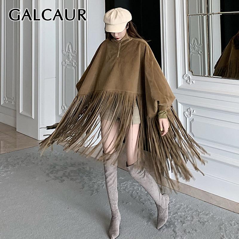 GALCAUR Patchwork Tassel Women Windbreaker Turtleneck Lantern Long Sleeve Loose Bat Sleeved Wind Coat Female Fashion Clothing