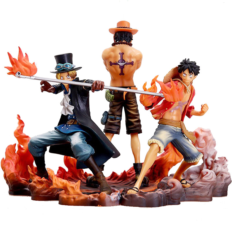 3 unids/set Anime una pieza figuras de acción nace Portgas D. Ace estatuilla Sabo Figura mono D Figura de Luffy de PVC juguete de modelo de colección de regalos