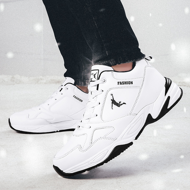 Winter sports running plus velvet thick warm and wearable students white plus cotton youth winter men's tide large size shoes