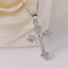 Pure 925 Silver Necklaces For Women Crystal Cross Pendant & Necklace Collier Femme Fashion Jewelry Accesories Bijoux Party Gift pure 925 silver necklaces for women key pendant necklace 2mm ball chain collier femme choker fashion jewelry accesories bijoux