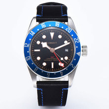 Corgeut 41 мм GMT автоматические мужские часы сапфировое стекло SS Кристалл водонепроницаемый синий ободок календарь светящиеся механические наручные часы