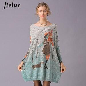Image 3 - Jielur Trui Vrouwen Cartoon Gedrukt Lange Mouwen Jumper Kawaii Gebreide Truien Lente Herfst Trui Basic Pull Femme