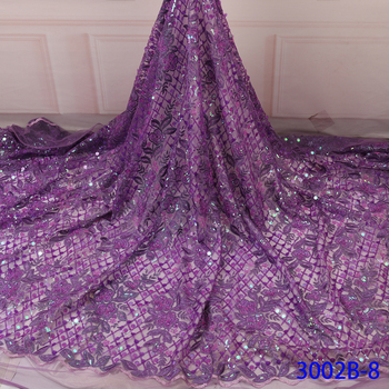 Nigerian Sequins Lace Fabric for Embroidered Lace Fabric  High Quality Lace Wedding Sequins African lace Fabric