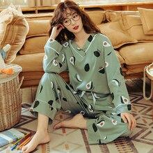 Bzel conjuntos de pijamas femininos plus size femme nighty casual houngewear algodão pijamas dos desenhos animados com decote em v pijamas M 3XL