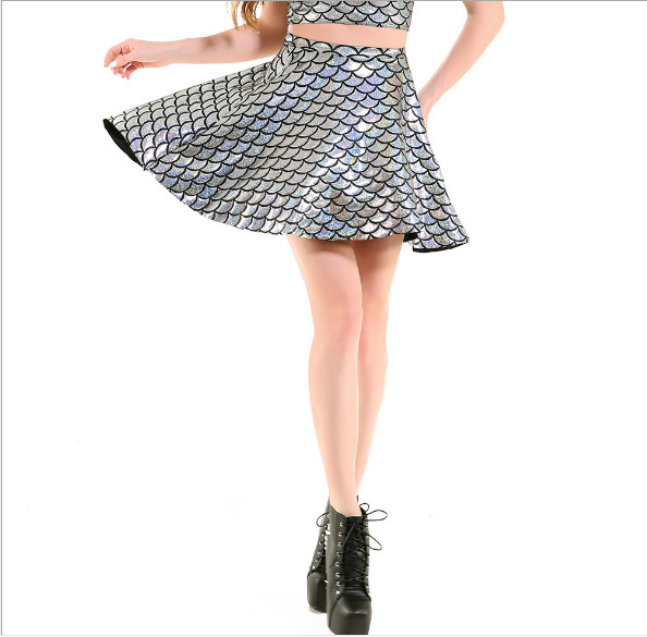 2019 Europe And America Cool Hot Selling Shiny Scale Skirt Multi-Code Pleated Color Large Size Big Hemline Full Skirt