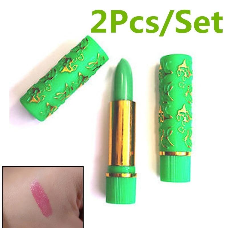2Pcs Dark Green Magic Spotting Lipgloss Lipstick Long Lasting Lip Liner Butterfly Cosmetics Makeup Maquiagem(China)
